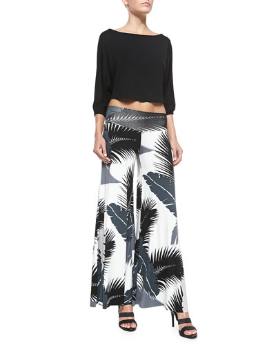 Tamika Cropped Top & Tropical-Print Wide-Leg Pants, Women's