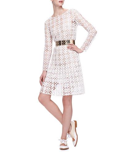 Oscar de la Renta Long-Sleeve Lace Dress with Slip & Golden Cutout Belt