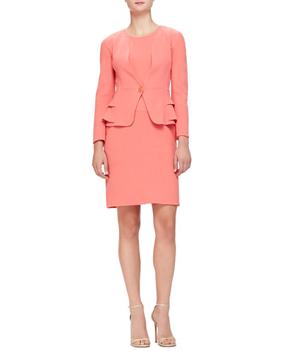 Armani Collezioni Layered-Peplum Crepe Jacket & Seamed Double Crepe Dress