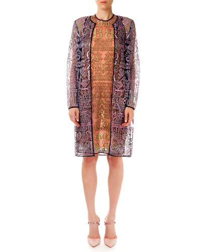 Sheer Glitter Letter-Print Long Cardigan & Dress