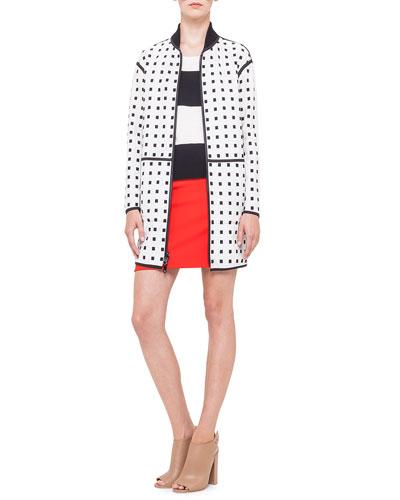 Akris punto Reversible Square Jacquard Coat, Short-Sleeve Bold-Striped Wool Sweater & Front-Pocket Short Skirt