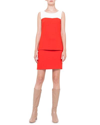 Akris punto Colorblock Shirttail Tank Top & Front-Pocket Short Skirt, Rouge/Creme