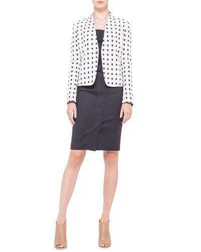 Akris punto Square Dotted Jacquard Jacket, Square-Neck Half-Sleeve Jersey Top & Belted Snap-Front Pencil Skirt