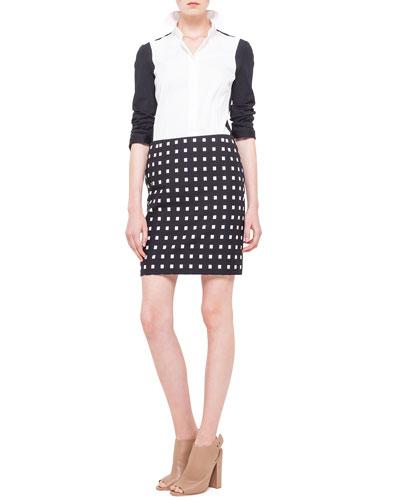 Akris punto Colorblock Panel-Sleeve Blouse & Square Dotted Jacquard Short Skirt