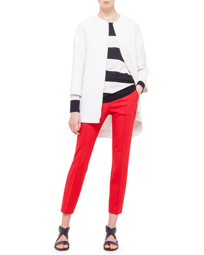 Two-Way Zip Cardigan, Bold-Striped Wool Sweater & Frankie Slim-Fit Ankle Pants