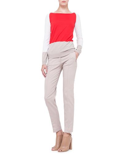 Akris punto Colorblock Boat-Neck Wool Sweater & Fabia Zip-Pocket Slim-Fit Pants