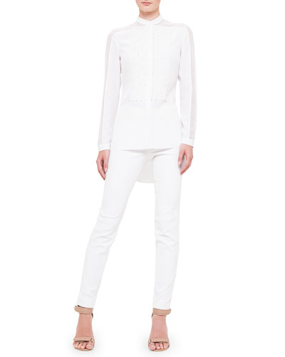 Laser-Cut Tuxedo-Front Blouse & Fabiana Techno Cotton Pants, Creme