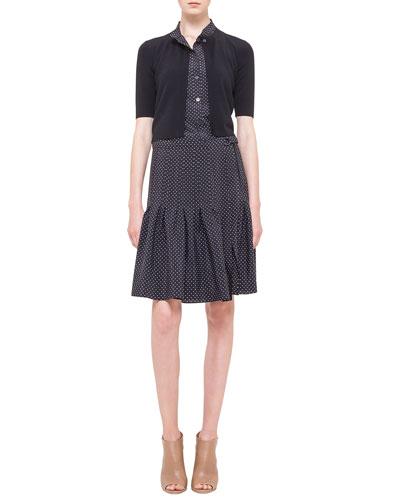 Akris punto Half-Sleeve Short Cardigan & Polka-Dot Pleated Silk Dress