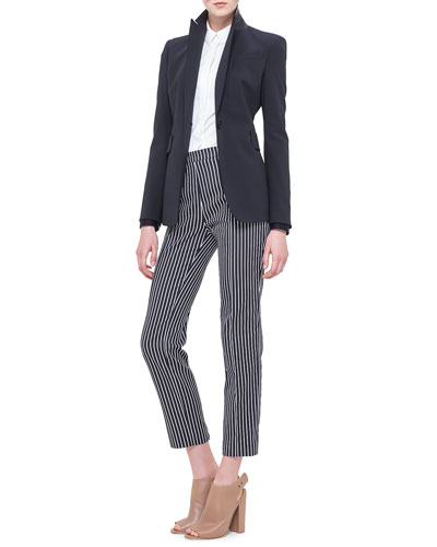 Akris punto Perforated Leather Collar Blazer, Colorblock Panel-Sleeve Blouse & Franca Vertical-Stripe Ankle Pants