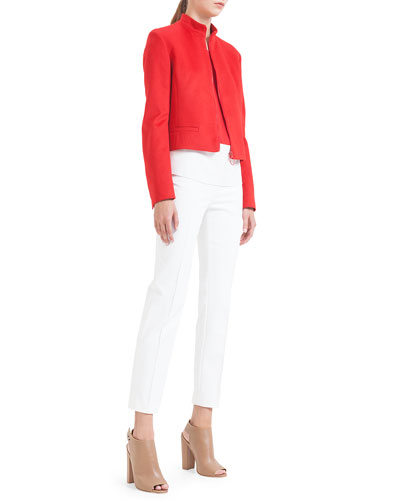 Akris punto Mandarin-Collar Wool Zip Jacket, Colorblock Pleated Silk Blouse & Franca Square-Front Ankle Pants