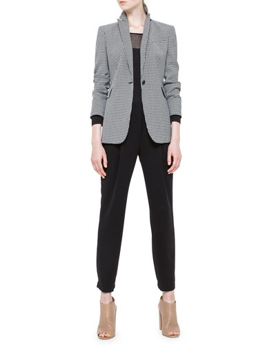 Mini-Checked Single-Button Blazer, Sheer-Inset Wool Sweater & Mimi Front-Pleat Cuffed Ankle Pants