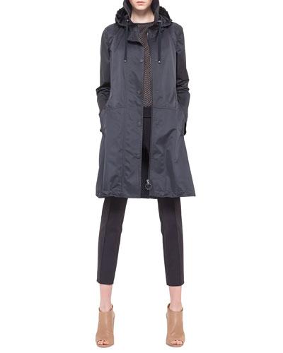 Akris punto Hooded Drawstring Techno Long Parka, Jersey Mesh Back-Zip Tank & Franca Square-Front-Pocket Ankle Pants, Noir