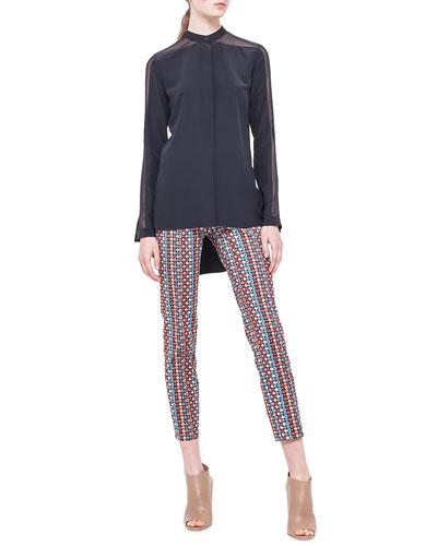 Akris punto Band-Collar Sheer-Shoulder Silk Blouse & Franca Micro Record-Print Ankle Pants
