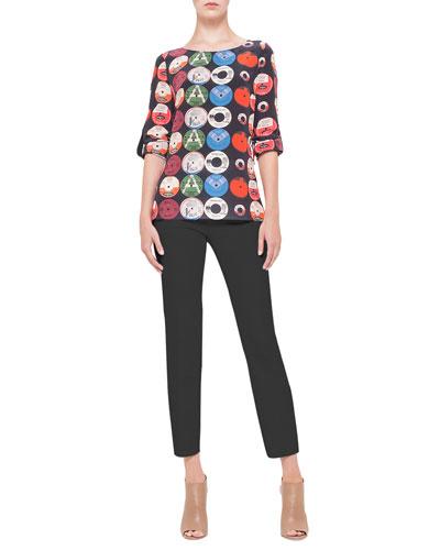 Akris punto Record-Print Tab-Sleeve Silk Blouse & Franca Square-Front-Pocket Ankle Pants
