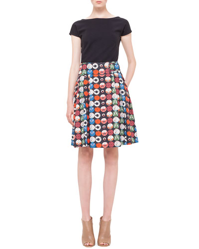 Akris punto Scoop-Back Jersey Top & Box-Pleated Record-Print Skirt