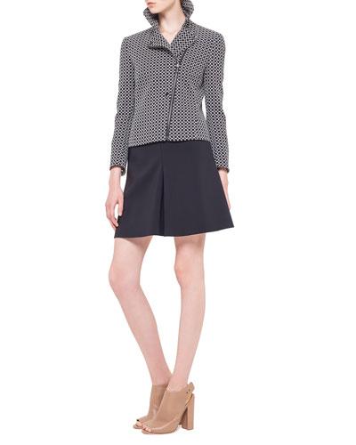 Akris punto Circle-Jacquard Moto Jacket, Square-Neck Half-Sleeve Jersey Top & Godet Techno-Fabric Short Skirt