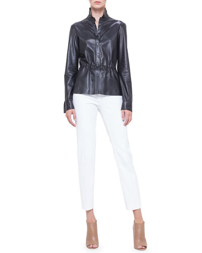 Perforated Napa Leather Drawstring Shirt & Fabiana Techno Cotton Pants