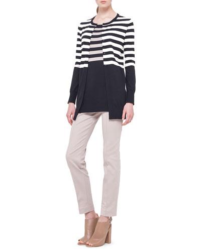 Akris punto Striped Long Boyfriend Cardigan, Striped Long Tank Sweater & Fabia Zip-Pocket Slim-Fit Pants