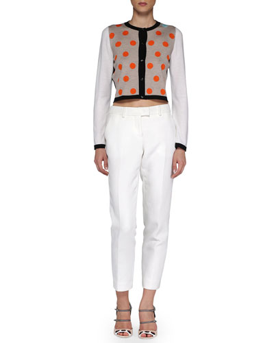 Dotted Cropped Knit Cardigan & Cropped Straight-Leg Twill Pants