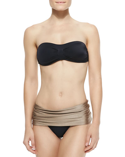 Pleated Bandeau Swim Top & New Roller Fold-Over Bottom