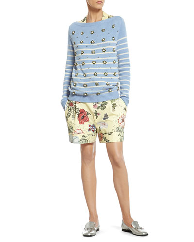 Striped Cashmere Sweater with Crystal Embroidery, Flora Knight Print Silk Shirt & Flora Knight Print Cotton Canvas Short