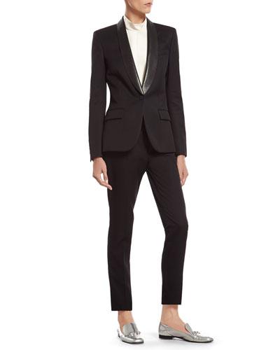 Black Fine Wool Tuxedo Jacket, White Silk Cady Shirt & Black Fine Wool Skinny Tuxedo Pant