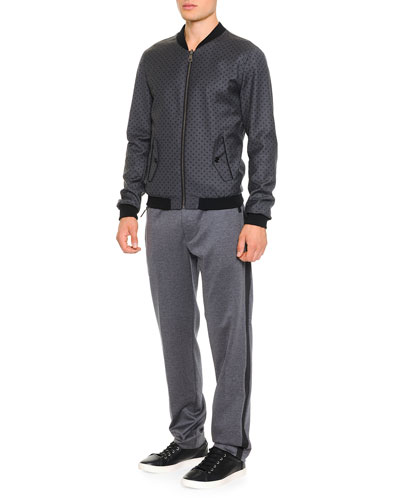 Reversible Dot Bomber Jacket & Jogging Pants with Zip Pockets