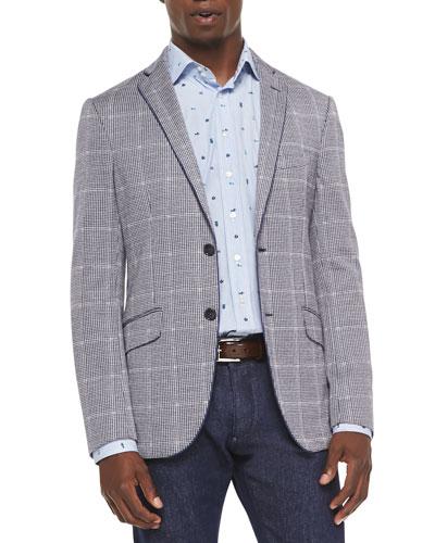 Linen-Blend Houndstooth Windowpane Blazer & Sealife-Print Fine-Striped Shirt