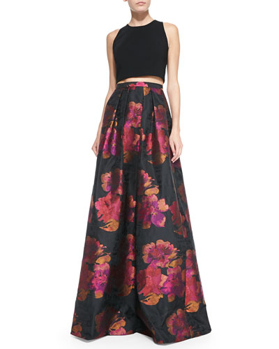 Sleeveless Crop Top & Floral-Print Ball Skirt