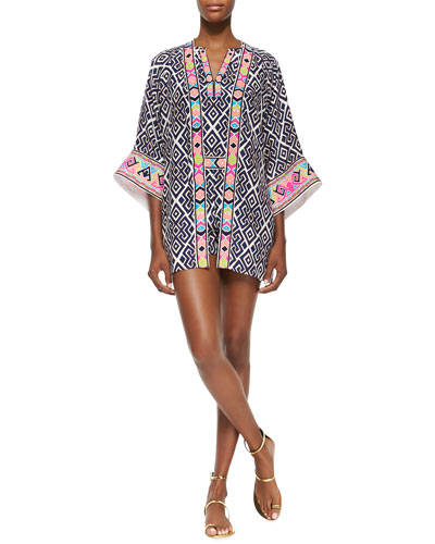 Geometric-Print Fiona Jacket, Gwen Silk Top & Edie Shorts