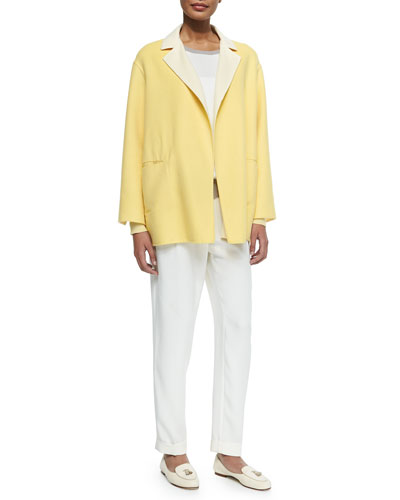 Double-Faced Cashmere Topper Coat, Cashmere Long-Sleeve Colorblock Sweater & Stretch Silk Pants