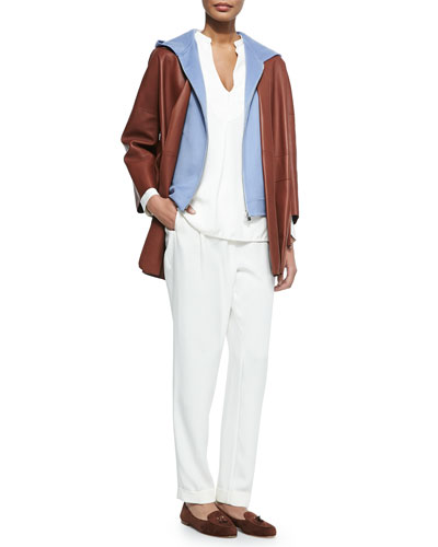 Belted Bonded Leather Topper Coat, Cashmere Kian Double-Faced Vest, Debra Stretch-Silk Blouse & Stretch Silk Pants