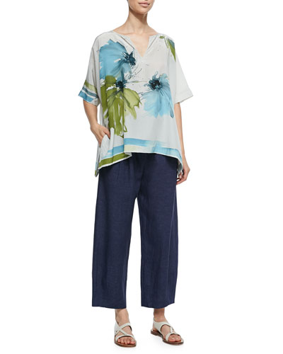 Shirlee Blooming Flower-Print Silk Blouse & Linen Delave Drawstring Casual Pants