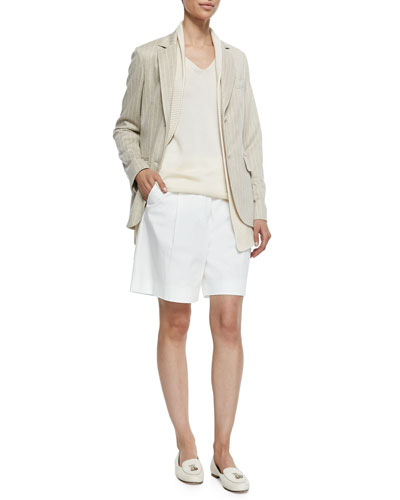 Deneu Linen-Blend Pinstriped Jacket, Silk-Blend Santiago Stitched Vest & Silk-Blend Knit V-Neck Shell