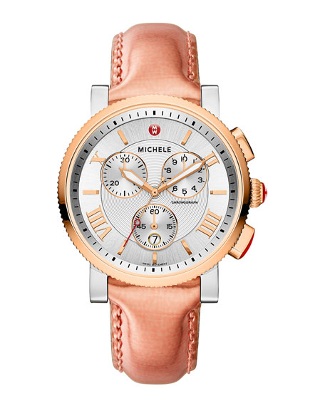 MICHELE 20mm Sport Sail Two-Tone Rose Gold Watch
