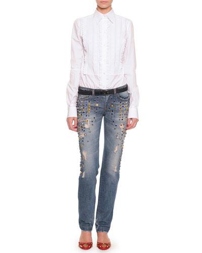 Dolce & Gabbana Long-Sleeve Ruffled Tuxedo Blouse & Crystal Embellished Jeans