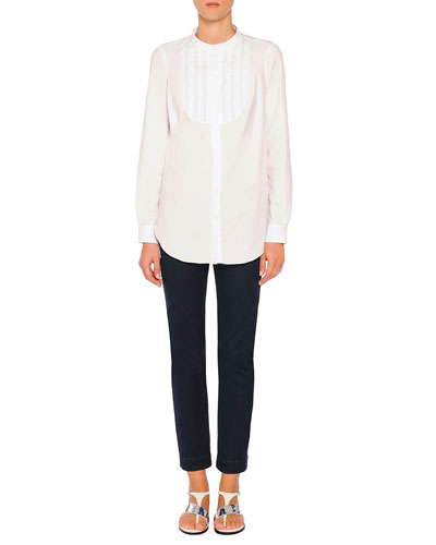 Fish-Wire Loop Tuxedo Blouse & Audrey Straight-Leg Denim Jeans
