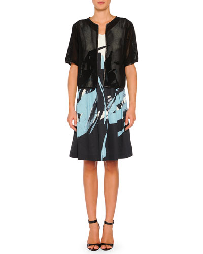 Perforated Suede Short-Sleeve Jacket & V-Neck Brushstroke-Print A-Line Dress