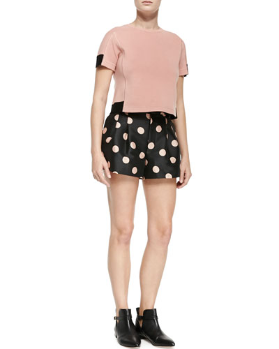 Cropped Pullover W/ Colorblocking & Macro Polka Dot Shorts