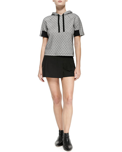 Short-Sleeve Point D'Esprit Hoodie & Two-Button Mini Skort