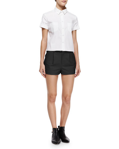 Short-Sleeve Cropped Poplin Shirt & Stretch Cotton Shorts