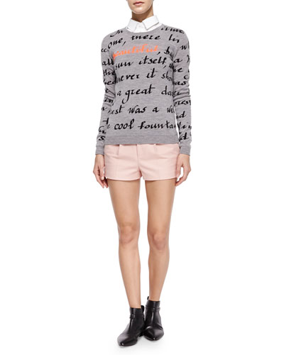 Long-Sleeve Poem Pullover, Short-Sleeve Cropped Poplin Shirt & Stretch Cotton Shorts