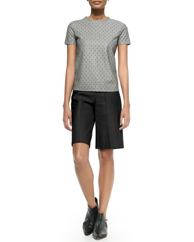 Crewneck Point D'Esprit Tee &  Leather Side-Zip Bermuda Shorts