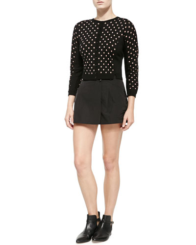 Cropped Polka Dot Cardigan & Two-Button Mini Skort