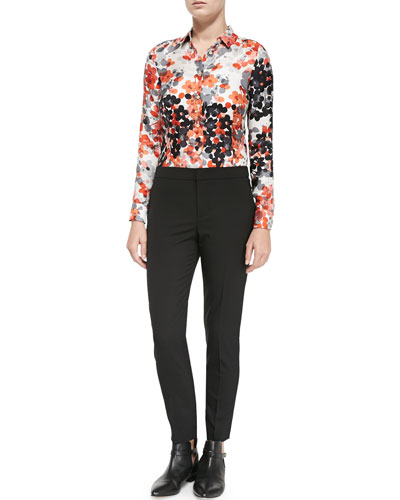 Long-Sleeve Abstract Flower Blouse & Stretch Wool Skinny Pants