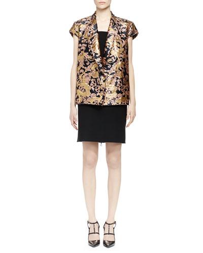 Golden Monkey Brocade Short-Sleeve Jacket & Pierced Wide-Strap Dress