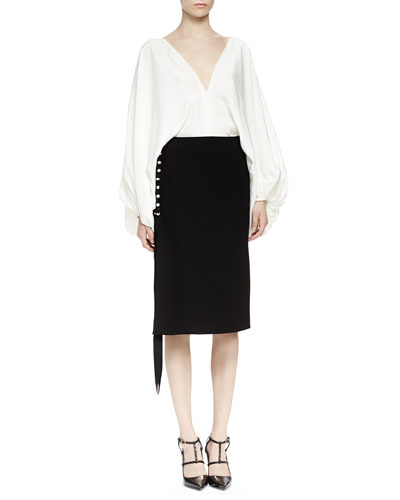 Lanvin Silk Batwing Blouse & Pearly Pierced Midi Skirt