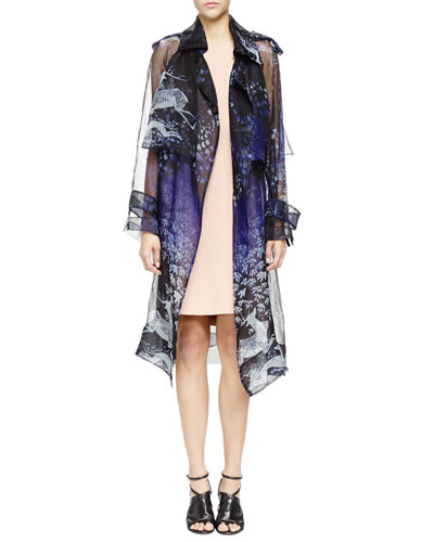 Lanvin Printed Silk Organza Trench Coat & Pearly Pierced Washed Cady Sheath Dress