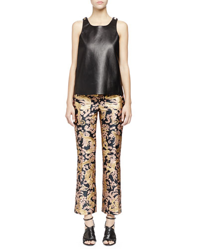 Studded Leather Tank Top & Golden Monkey Brocade Pants