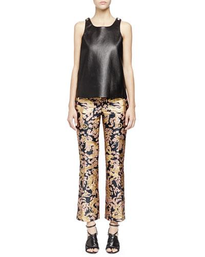 Lanvin Studded Leather Tank Top & Golden Monkey Brocade Pants